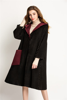 HOT SELLING miyake hooded outerwear pleated solid single button length sleeve A-Lin LOOSE outerwear   IN STOCK