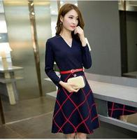 hot sell women elegant patchwork plaid dress 2018 autumn winter fashion v neck slim dresses A line office linen dress with belt