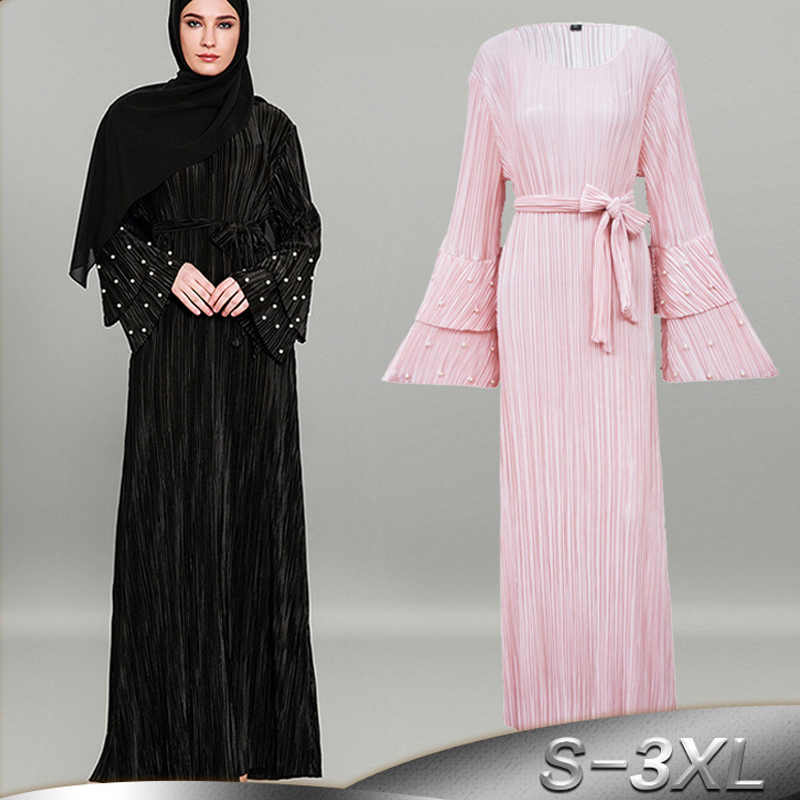 2a03dd27234 Plus Size Vestido Longo 2019 Autumn UAE Abaya Dubai Muslim Women Long  Pleated Beading Bodycon Maxi