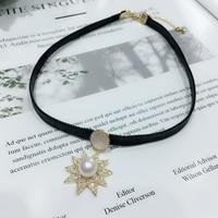 1PC Fashion Gothic Pearl black collar neck chain sexy round clavicle wild temperament choker necklace Cowboy accessories jewlery