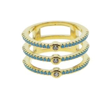 1d57fbae241a Anillo de dedo completo para mujer a la moda de tres líneas cz eternidad  banda oro