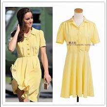 2017 Retro Vintage new summer Europe Princess Kate Slim was thin The same paragraph yellow Short sleeves temperament woman dress(China)