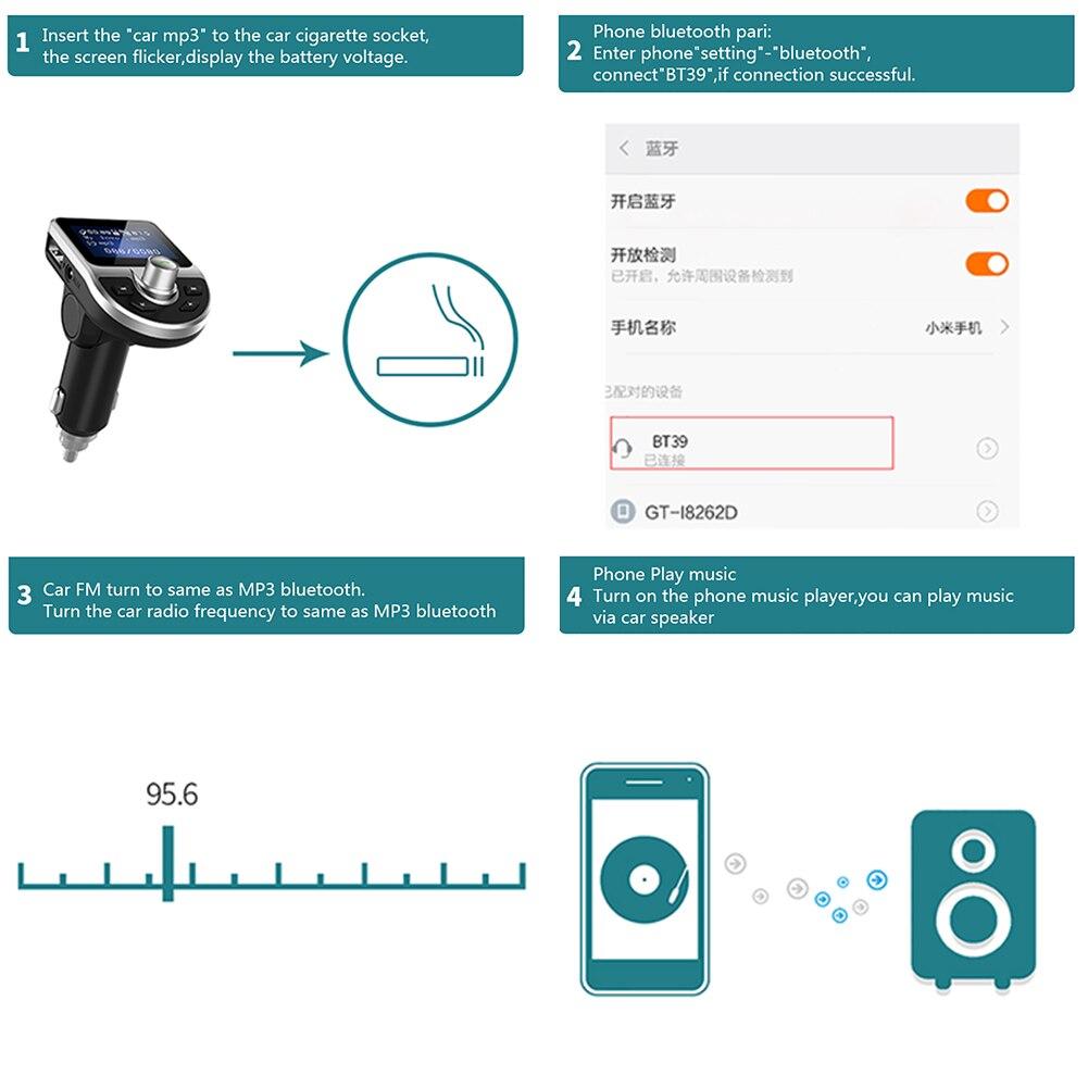 BT39 Smart Car Mp3 Player Bluetooth 4 0 Hands-Free Cigarette Lighter Power  Support Echo Voice Control Dual USB Plug Car Player