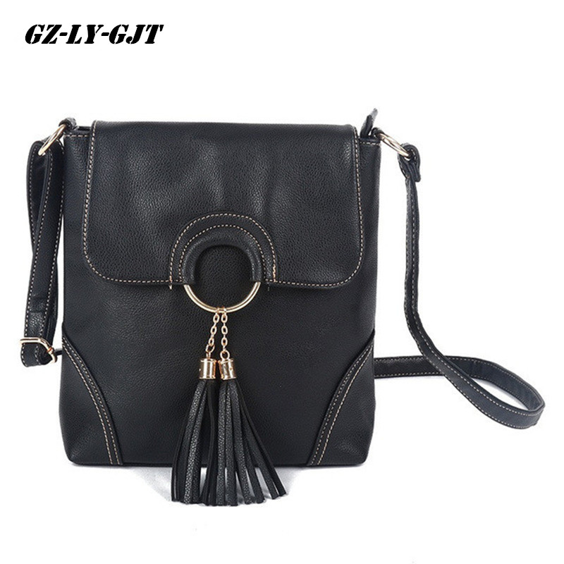 GZ-LY-GJT Brand Tassel Shoulder Bags For Women Crossbody Small Cute Black Tote Bag Female Zipper Fashion Vintage Shoulder Bags squirrel fashion large canvas patchwork vogue vintage zipper pattern brand versatile crossbody women travel tote shoulder bags