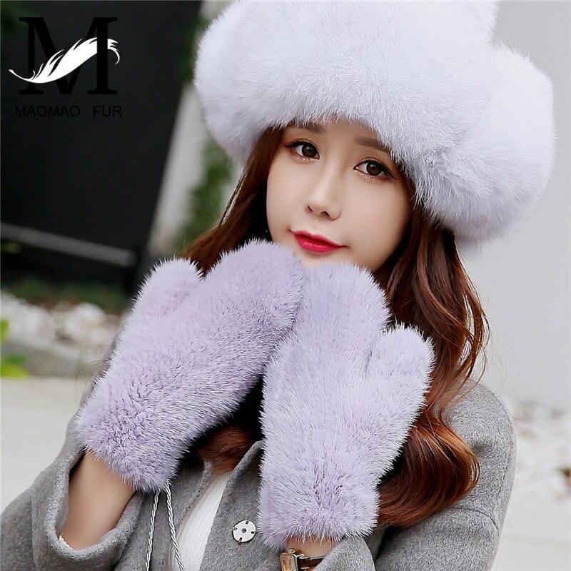 Hiver femmes vison gants véritable naturel tricoté vison fourrure gants mode belle mitaines épais chaud tricot réel fourrure gants mitaines