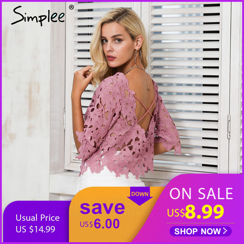 Simplee Hollow out sexy lace   blouse     shirt   women Elegant backless white blusas Crochet summer crop tops femme 2018