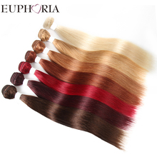 EUPHORIA Brazilian Straight Human Hair Weave 3/4 Bundles For Salon Blonde 613# Red Color 100% Remy Human Hair Weft Extensions