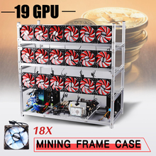 Open Air Frame Miner 19 GPU Mining Rig Frame+18 Fan For ETH Bitcoin Black/ Silver