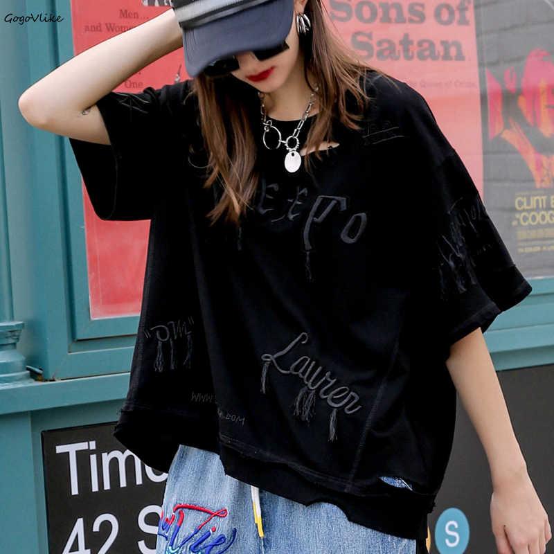 2019 été coréen dames trous hauts femmes broderie Hip Hop lâche t-shirt femme coton Tee chemises de grande taille LT2079S50