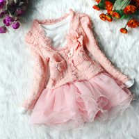 2017 Spring Girls 2 Pieces Cardigan and Dress baby girls clothing sets girls flower coat Tutu dress baby kids suit good quality