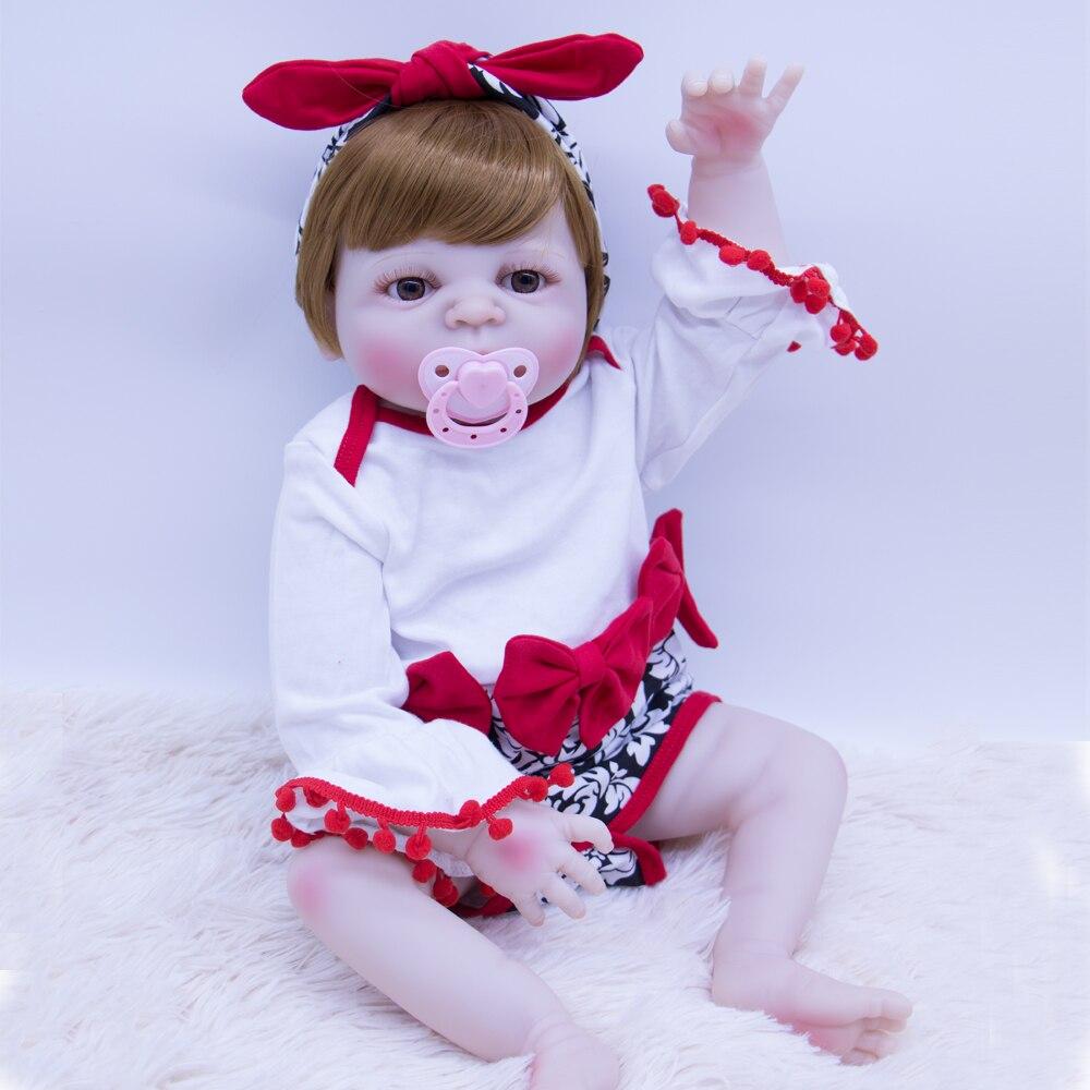 Коричневый волос Новорожденный ребенок кукла Возрожденный силикон виниловая Подарочная игрушка для девочки или мальчика красивая принцес... - 2