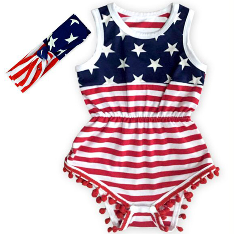 4th Of July American Girl Romper American Flag Baby Girl Clothes