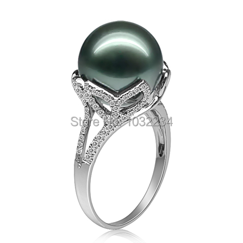 12mm Natural Tahitian Pearl Engagement Ring Gold Plated Anillo Plata 925 Perla Negra Luxurious Female Black