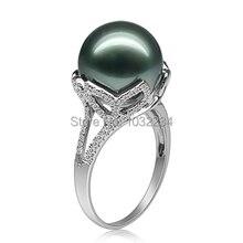 12mm natural tahitian perla anillo de compromiso anillo de oro plata 925 perla negra de lujo mujer negro perla anillo de bodas