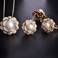 Blucome upscale zircão subiu conjuntos de jóias pingente de colar & brincos & rings mulheres simulado pérola ouro cz ródio casamento schmuck