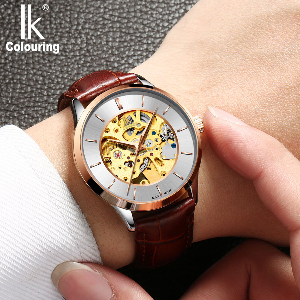 ik colouring mens orologio uomo automatic wristwatch skeleton steampunk wrist watch stainless steel band male clock montre homme IK Colouring Male Automatic Watch Luxury Rose Gold Skeleton Men's Mechanical Watches Leather Strap Wrist Clock Montre Homme