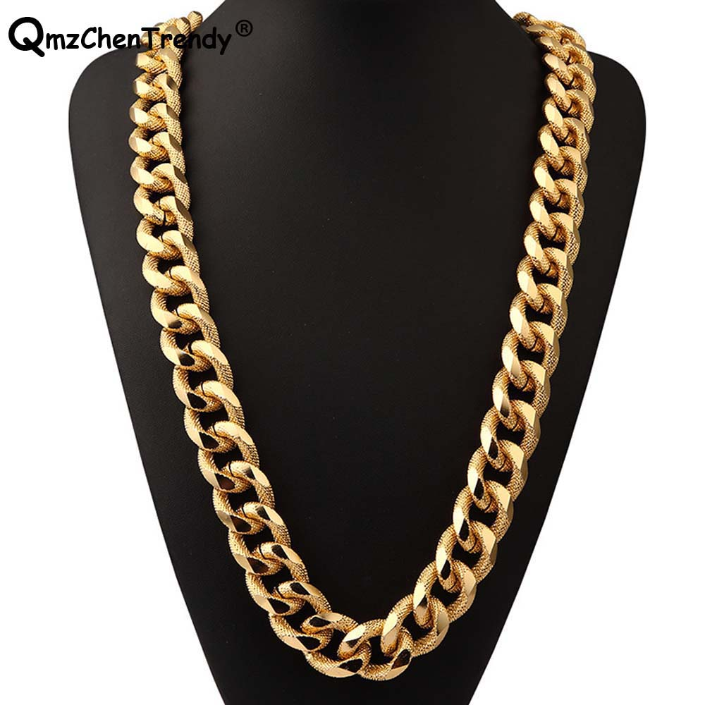 extra-coarse T Show 21mm Super Heavy Women Mens Thick Miami Cuban Chain Necklaces Golden Silver Bling Hip Hop Rapper Dj Jewelry