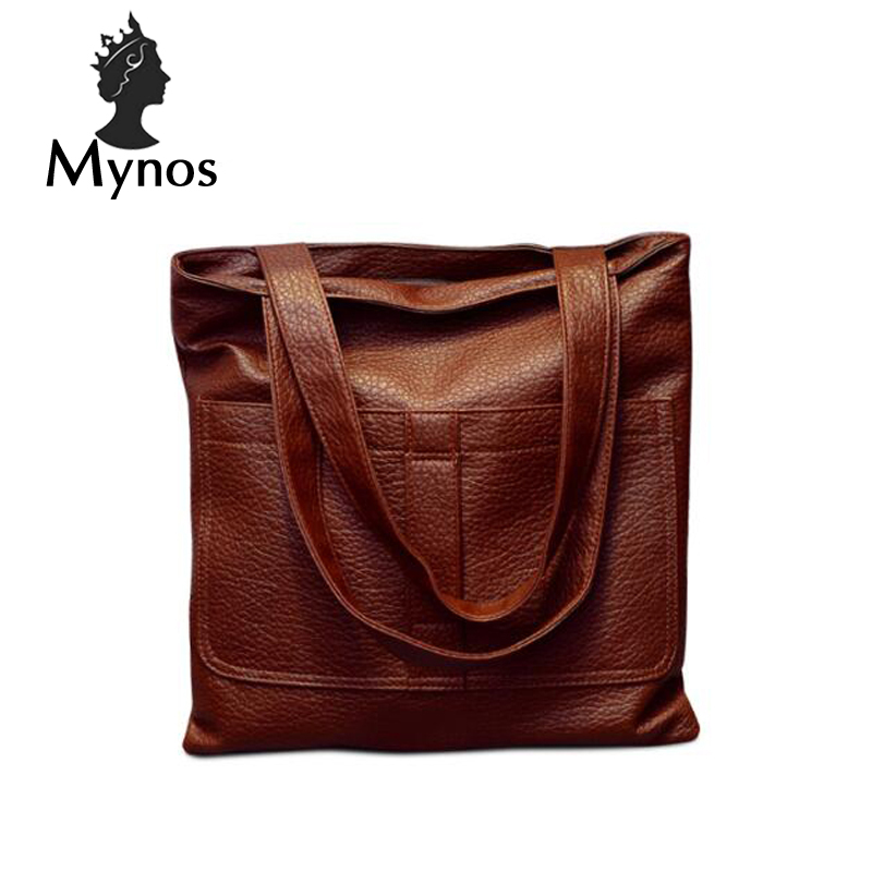 MYNOS Vintage Luxury Women Bag Leather Handbag  Famous Designer Tote Shoulder Messenger Bag Ladies Sac A Main Bolsas Feminina polka dot style protective silicone back case for samsung galaxy note 3 black white