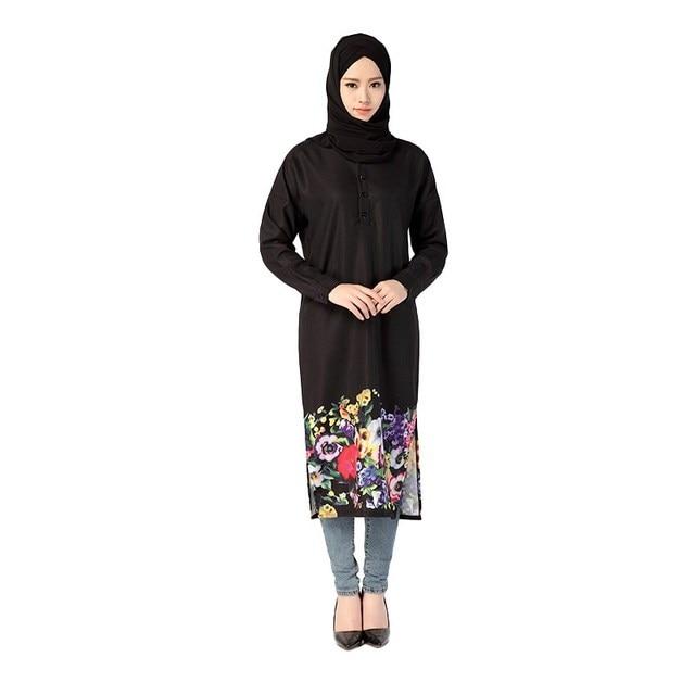 Women Flowers Printed Dress Muslim Costume Dress World Apparel Style Islam Long Sleeve Dress Arab Dresses