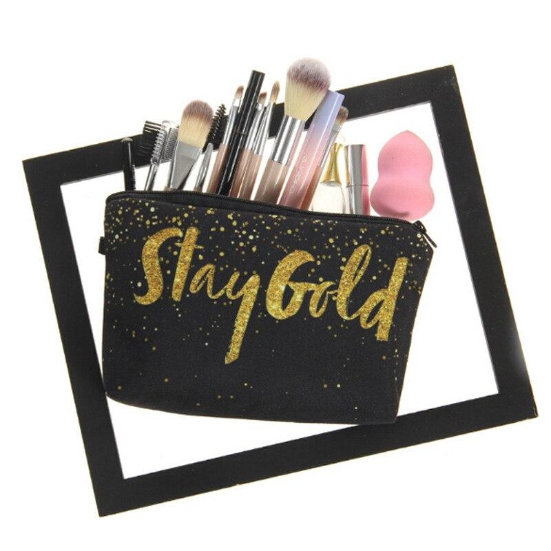 1 Pc 3d Drucken Goldenen Alphabet Wasserdicht Make-up Organizer Lagerung Tasche Frauen Kosmetik Tasche Mode Reise Telefon Tasche Bleistift Taschen Perfekte Verarbeitung