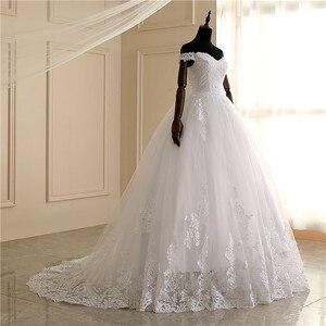 Image 3 - 2020 luksusowe koronki Boat Neck suknia suknie ślubne Sweetheart Sheer powrót księżniczka Illusion aplikacja suknie ślubne Casamento