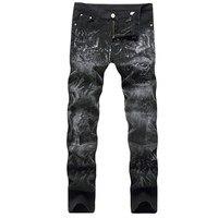 İskelet baskı kot erkek giyim moda streç denim pantolon üst kalite slim fit biker jeans erkekler Artı boyutu 29-40 için boyutu
