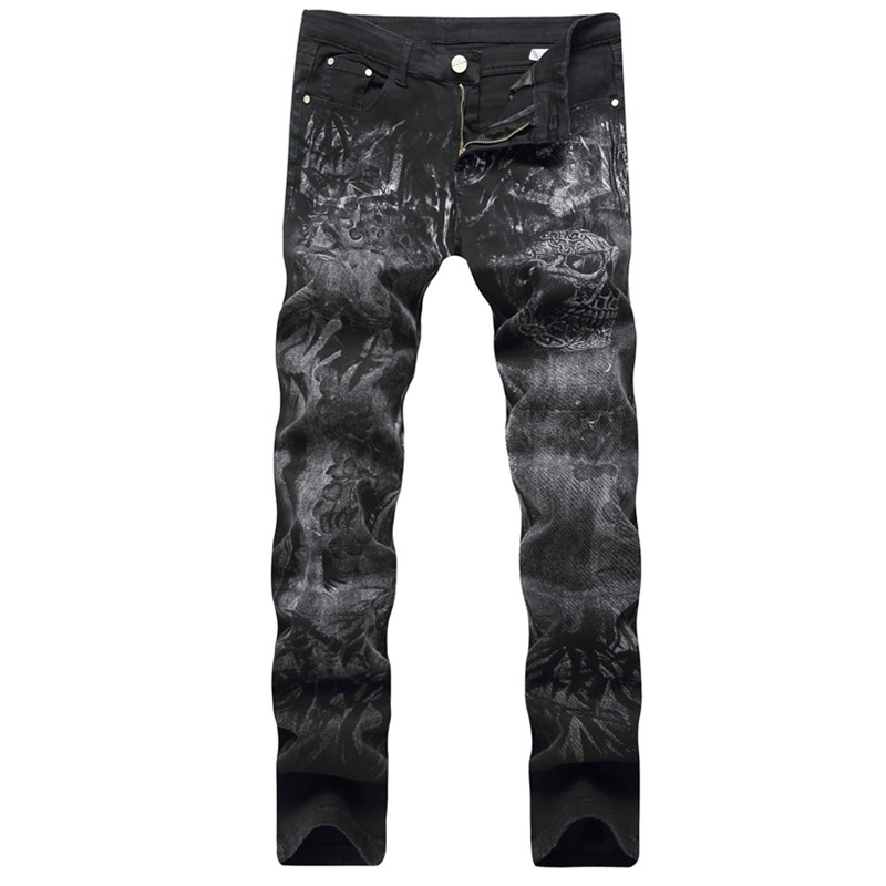 Skeleton printing jeans mens clothing fashion stretch denim pants top quality slim fit biker jeans for men Plus size 29-40 size