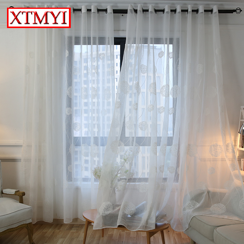 Korean White Embroidered Voile Curtains For Bedroom Window