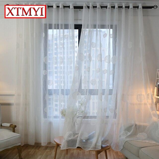 Koreanische Weiß Bestickt Voile Vorhänge für schlafzimmer fenster ...