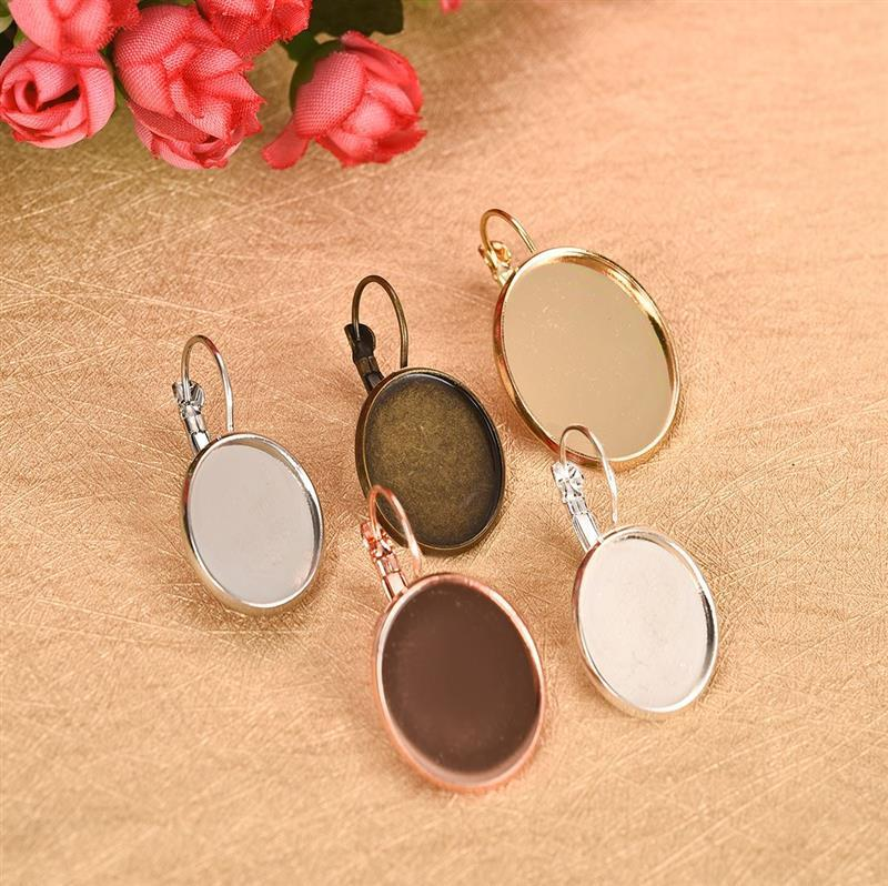 10pcs 13x18mm 18x25mm Big Oval Hooks Earring Base Setting French Lever Bezel Blank Glass Cabochon Cameo For DIY Jewelry 5 Colors