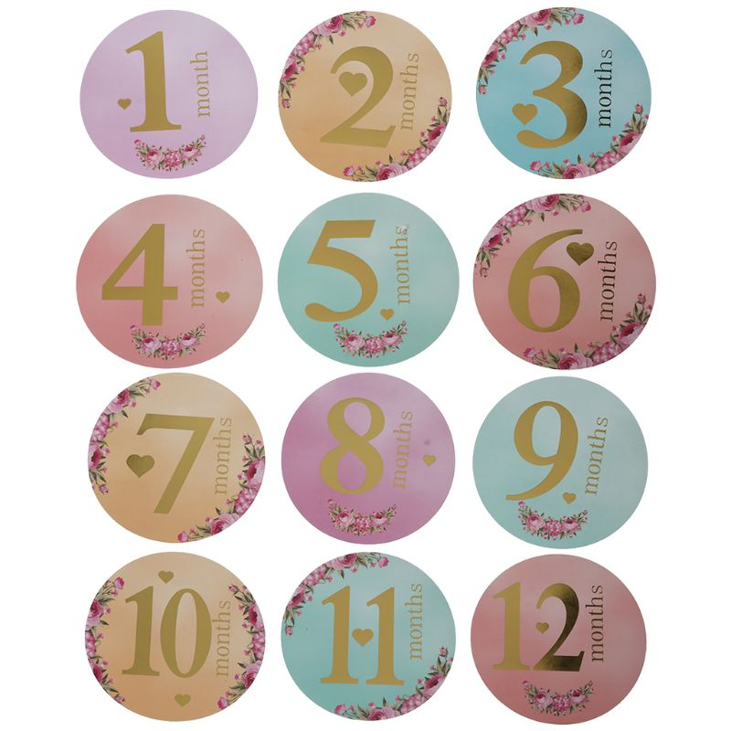 12 Pcs/Set Month Sticker Baby Photography Milestone Memorial Monthly Newborn Kids Commemorative Card Number Photo Props