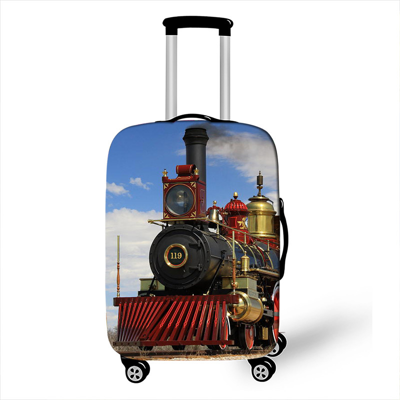 Steam Train Locomotive Print Luggage Cover Elastic Travel Trolley Case Covers Anit-dust Suitcase Cover For 18-32 Inch