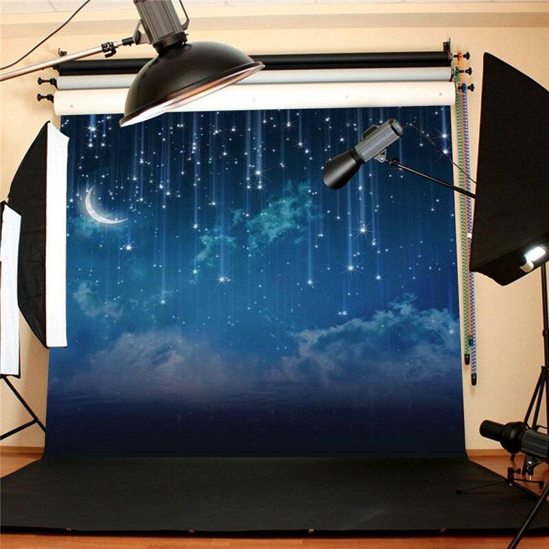 10x10FT Bleu Ciel Lune Glitter Star Night Personnalisé Photographie Fond Pour Studio Photo Props Photographique Décors en tissu - 2