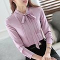 2016 Fashion female elegant bow tie slim white blouses casual ruffled shirt Ladies Autumn office work wear long sleeve tops 4XL