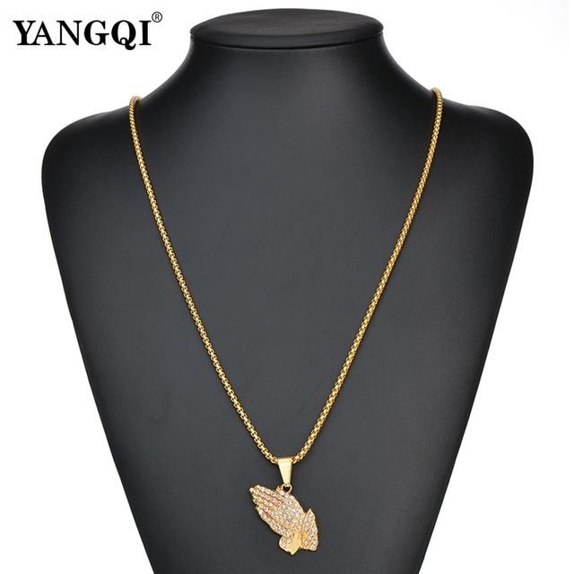 YANGQI HipHop Full Rhinestone Hand Shape Pendant Necklace Women Men Gold Color Stainless Steel Religion Prayer Necklace Jewelry 2