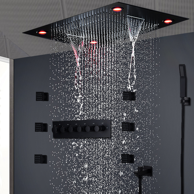 2019 Modern Matt Black Shower Set Concealed Ceiling Massage Large Rain Waterfall Shower Panel Head Thermostatic High Flow Shower