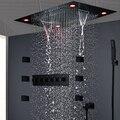2020 baño termostático LED conjunto de ducha de lluvia techo cascada masaje cuerpo Jets 2 pulgadas 5 funciones baño mezcla válvula