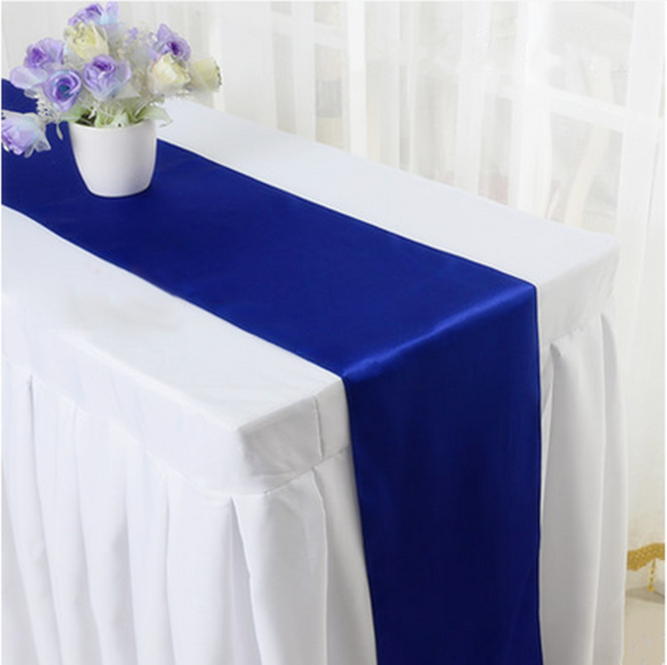 50pcs 30 x 275cm Satin Table Runners Silk Ribbon Table Flags Table Cloth Covers For Hotel