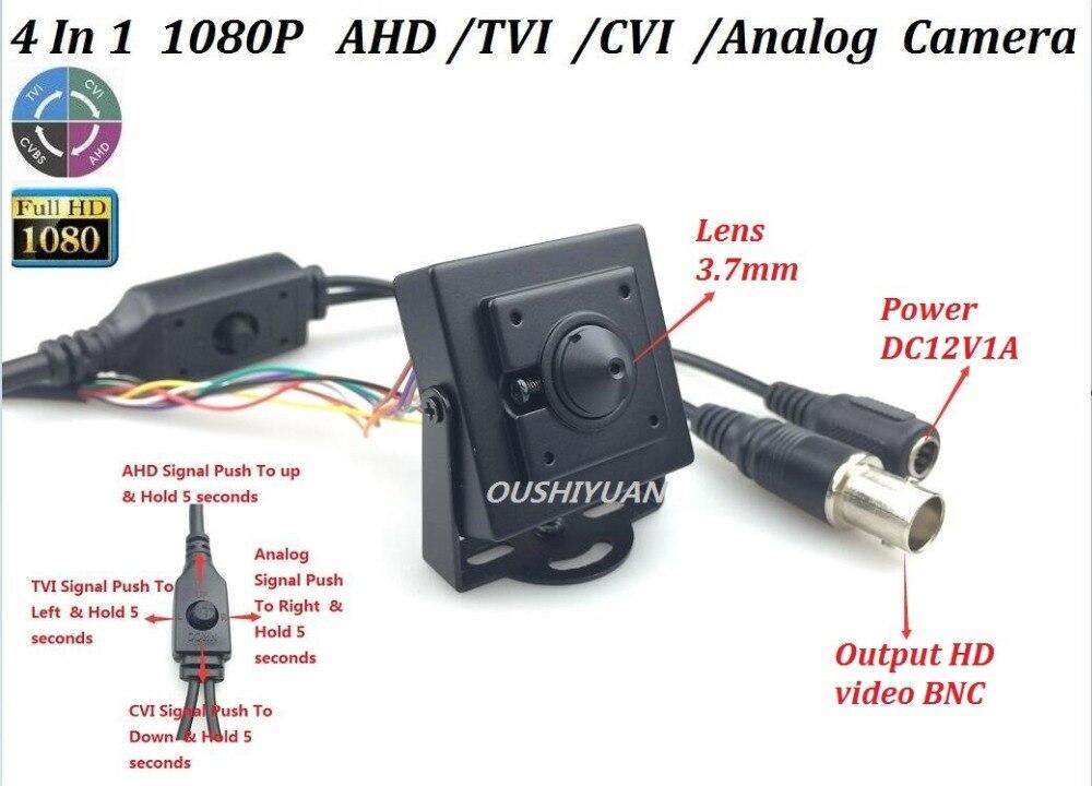 3.6mm Lens CCTV HD-AHD//TVI//CVI//CVBS 4 IN 1 2.0MP 1080P OSD Menu IR-CUT Camera