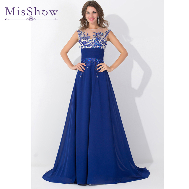 Real Picture 2018 Evening Dresses Sleeveless Appliques Chiffon Long Prom Party Evening Gowns Royal Blue Special Occasion Dress