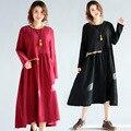 [soonyour] real shot 2017 new art lofty size women waist waist embroidery long-sleeved cotton and linen dress A00541M