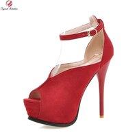 Elegant 2016 Women Sandals Flock Fashion Red Bottom 5cm Platform 13 5cm Thin Heels Pumps Nice