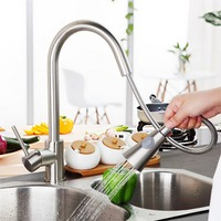 Two Functions Brushed Nickel Dual Sprayer Kitchen Faucet Single Handle Pull Out Kitchen Mixer Tap