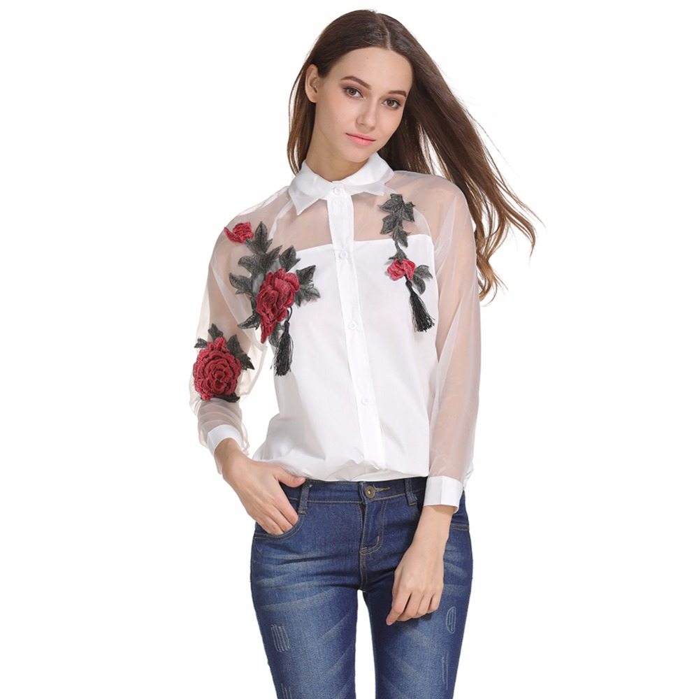 Summer Rose Embroidered Shirt Women's Long Sleeve Openwork Mesh Stitching Sunscreen Solid Color Shirt Sexy Women's Tops