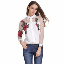 Summer Rose Embroidered Shirt Women's Long Sleeve Openwork M