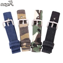 New 18mm 20mm 22mm 24mm Canvas Camouflage Watch Band Strap F