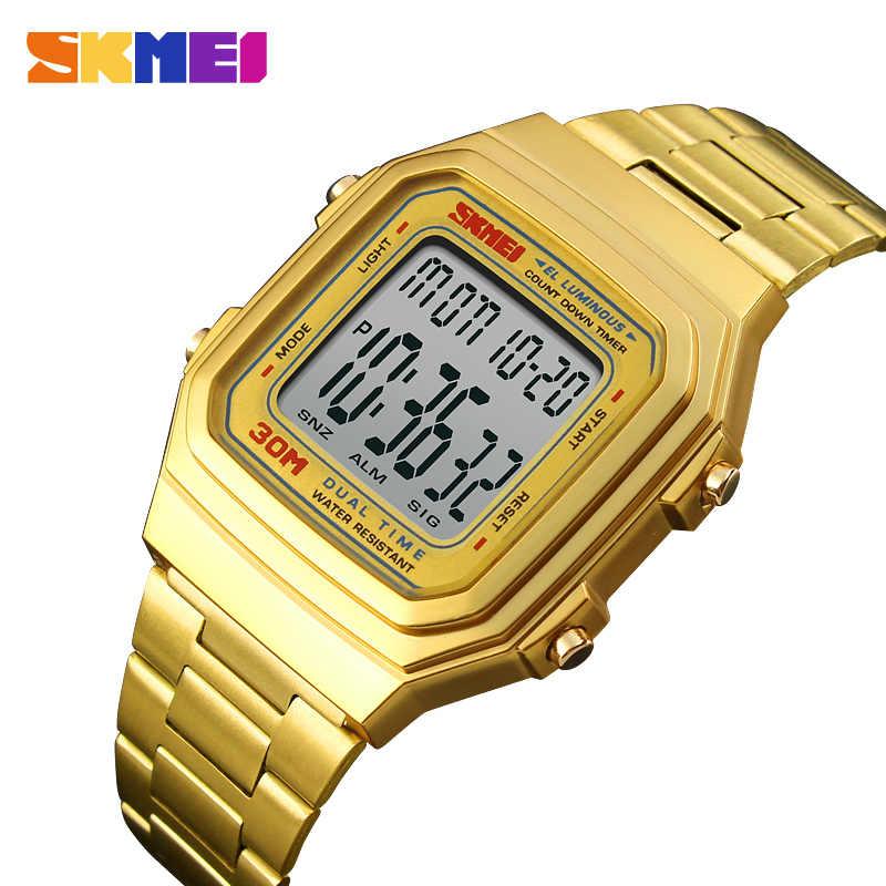 Skmei relógio masculino marca de luxo digital esportes relógios contagem regressiva eletrônico ao ar livre led relógio masculino