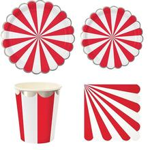 Circus Theme Paper Disposable Tableware Red Striped Plates Cups Wedding Supplies Foild Bronzing Happy Birthday Party Decoration