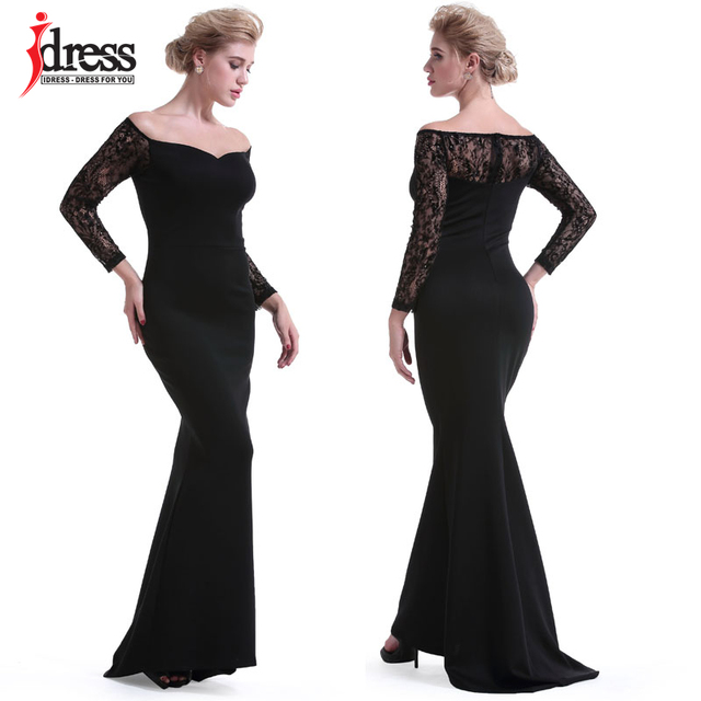 10d562dbacc1a IDress 2018 Runway Designer Dress Women Elegant Off Shoulder Lace Long  Sleeve Black Evening Party Maxi Long Dress Vestidos Longo