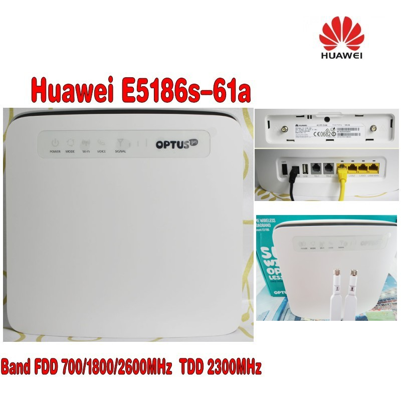 Unlocked Huawei E5186s-61a CAT6 300Mbps 4G LTE FDD 700/1800/2600MHz TDD2300MHz CPE Wireless Router +4g antenna unlocked huawei e5175s 22 cpe wifi router lte fdd 800 900 1800 2100 2600mhz tdd2600mhz cat6 300mbps mobile 4g gateway router